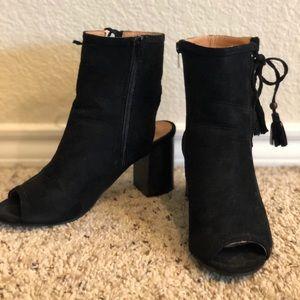 Black Peep Toe Open Heel Booties